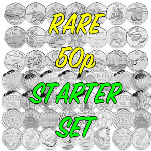 Rare 50p Coin Collectors Starter Set - 50ps - COIN HUNT Bundle FREE UK SHIPPING
