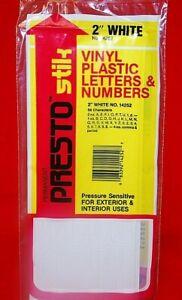 "Presto Stik Vinyl Plastic Letters & Numbers 2"" White Permanent #14252   S6478"