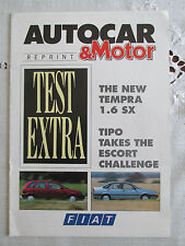 1990 FIAT TEMPRA AND TIPO ROAD TEST REPRINT - AUTOCAR AND MOTOR MAGAZINE