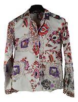ETRO MILANO Damen Shirt Tunika Gr. 42 DE Mehrfarbig Blumen Baumwolle GG19