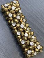 Vintage Wide Gold Beaded Bronze Crystal Rhinestone Stretch Bracelet  Style