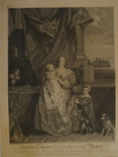 VAN DYCK (1599-1641) GRANDE GRAVURE XVIII° PORTRAIT MARIE HENRIETTE ANGLETERRE