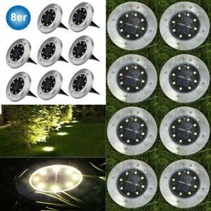 LED Solarleuchte Solarlampe Bodenstrahler Bodeneinbau 8Leds Außen Gartenstrahler