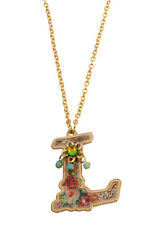 Michal Negrin Shiny Gold Coated L Pendant Necklace #120121410012