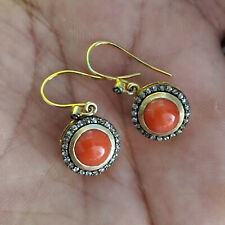 Hook Earrings 925 Silver Wedding Jewelry Coral Gemstone 14K Gold Diamond Dangle