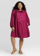 A New Day XXL Dress Babydoll Dark Pink Long Sleeves
