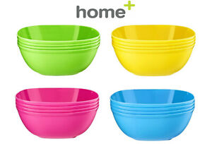 4 x Plastic Cereal Bowls Coloured Square Breakfast Oatmeal Soup Bowls Picnic
