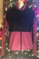 Columbia Women's Fleece Windbreaker Jacket Size Medium Full Zip Pink Black