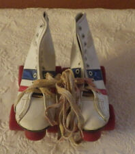 Official Roller Derby Skates Fireball Youth White Red Blue Stripe Size 12