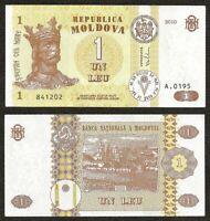 MOLDOVA 1 Lei, 2010, P-8, Stefan Cel Mare, Capriana Monastery,UNC World Currency