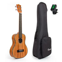 Kmise Zebrawood Tenor Ukulele Hawaii Guitar 26 Inch Thin Body W Bag and Tuner