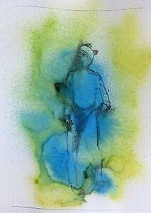SUMMER RAIN original ink drawing unique art portrait humour Frederic BELAUBRE
