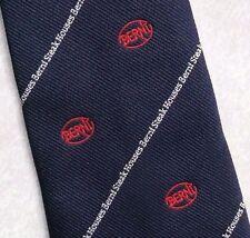 Berni Steak Corbata Vintage Retro Azul Marino 1980s 1990s Logo de la compañía corporativa