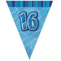 Blue Glitz 16 Flag Banner 12 Ft String Flags 16th Birthday Party Decorations