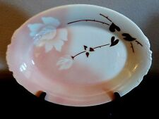 "Syracuse Madam Butterfly 12"" Oval Serving Platter White Flowers Brown Leaves"