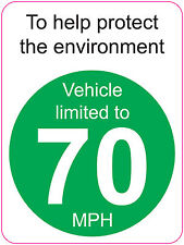 [ 120x160mm ] LIMITED TO 70 MPH | TO HELP PROTECT THE ENVIRONMENT - VAN/WAGGON