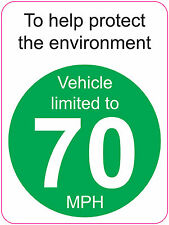 LIMITED TO 70 MPH | TO HELP PROTECT THE ENVIRONMENT - VAN/WAGGON 120mmx160mm