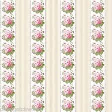 Anna Griffin Cotton Fabric Metre Floral Stripe Eleanor Posy Bouquet Flower 1m