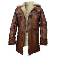 Tom Hardy Bane Dark Knight Lambskin Sheepskin Shearling Leather Coat - BNWT