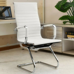 1/2 White Dining Chairs High Back Faux Leather Padded Seat Dining Room Furniture