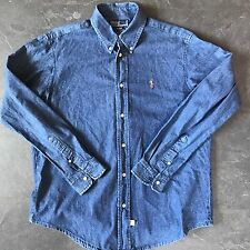 Polo by Ralph Lauren Denim Vintage Stone Wash Shirt Large Oversized Rare Pony