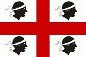 Bandiera Sarda 4 quattro mori bianca Sardegna 100X150 con asola per asta