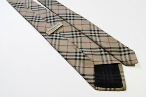 BURBERRY mens 100% silk Tie made in Italy necktie brown Nova Check