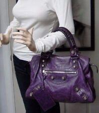 12f2535deb7 $1895 Balenciaga Purple Grape Leather Large Giant City Bag