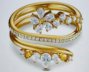 Studio Swarovski Botanical Ring Wrap, White, Gold Plated Gr.55 New
