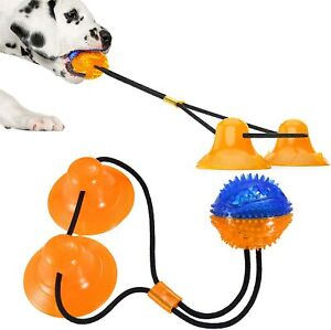 Interactive Dog Puppy Rope Chew Toy Ball Suction Cup Tug of War Treat Teething