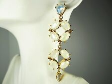 JENNY PACKHAM Charming Yellow Gold Plated Opalite MOP Daublets Linear Earrings
