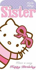 Hello Kitty Happy Birthday Card for Sister Hello Sister Card