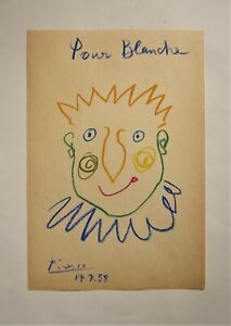 PICASSO.  A fine wax crayon drawing on paper.