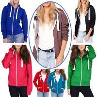 New Women's Zip Up Hooded Top Ladies Plain Colours Hoodies Sweatshirt Size 8-22