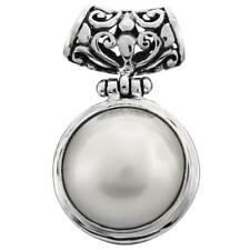 "1 3/16"" WHITE MABE PEARL BALI CAST 925 STERLING SILVER pendant"