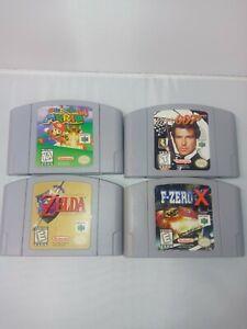 Nintendo 64 N64 Lot 4 Games MARIO ZELDA OCARINA 007 F ZERO X AUTHENTIC TESTED