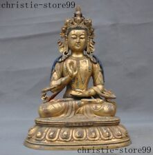 Tibet Buddhism bronze Gilt inlay Turquoise Tara Guanyin KuanYin Buddha Statue