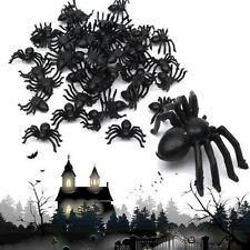 Hot Creative 100pcs Plastic Black Spider Halloween Prop Decoration Trick Toys