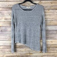 Elodie Womens Sweater Loose Knit Asymmetrical Hem Lightweight Pullover Small