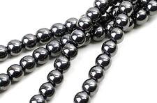 16 Inch Strand of Genuine Hematite Round Beads 6MM