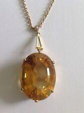 Finest Quality Vintage 9ct Gold Large Oval Citrine & Seed Pearl Pendant Necklet
