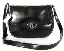 Giani Bernini $230 NWT Brogue Black Leather Saddle Bag Large Cross-Body Shoulder