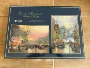 GIBSONS Thomas Kinkade painter of light jigsaw puzzle set of 2 1000 pcs SEALED