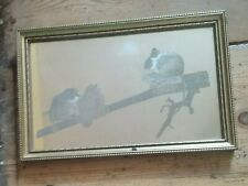 Engraved Mirror Wildlife Artist  R. Albon with Mouse and Two Baby Birds. Framed