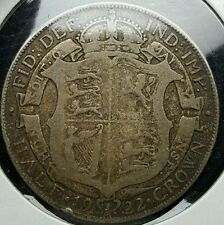 1922 UK Great Britain Half 1/2 Crown Silver Coin King George V $20.00 Value