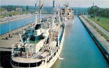 Postcard Lock 5 Thorold Ontario Canada ocean ships Welland Ship Canal