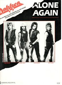 """DOKKEN """"ALONE AGAIN"""" SHEET MUSIC-PIANO/VOCAL/GUITAR/CHORDS-1985-RARE-NEW ON SALE"""