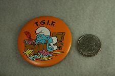 Vntg Tin Metal Pin Smurf Pinback TGIF Orange 1980 USA