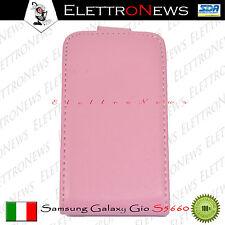 Custodia Cover Samsung S5660 Galaxy Gio apertura Flip Rosa nuova