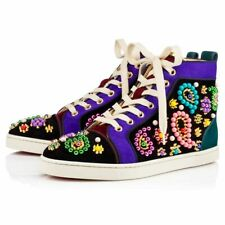 Christian Louboutin Sneacandy Embellished Suede Leather High-Top Sneakers-Sz 40